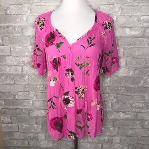 Old Navy Pink Floral Blouse